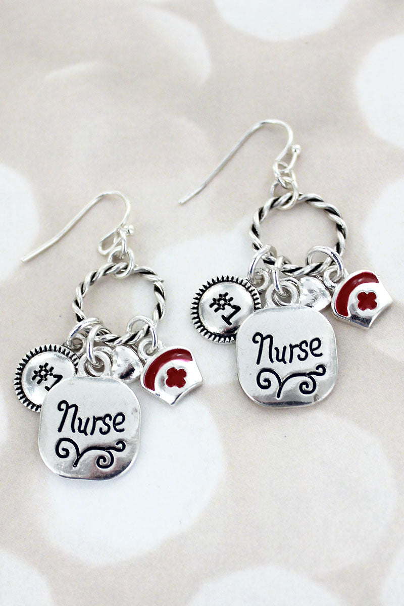 Silvertone Nurse Charm Twisted Hoop Earrings