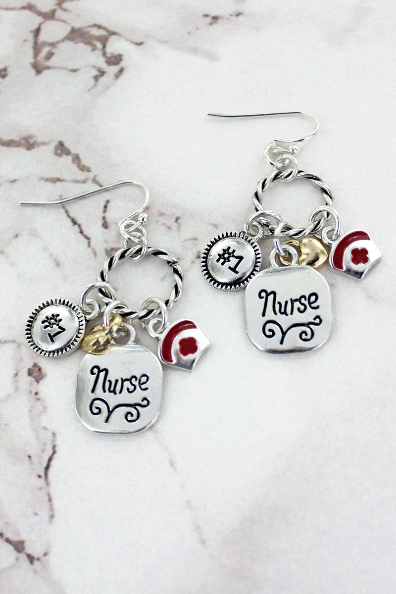 Two-Tone Nurse Charm Twisted Hoop Earrings