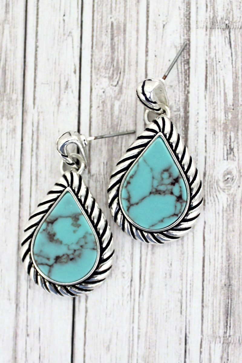 Silvertone Rope Framed Turquoise Teardrop Earrings
