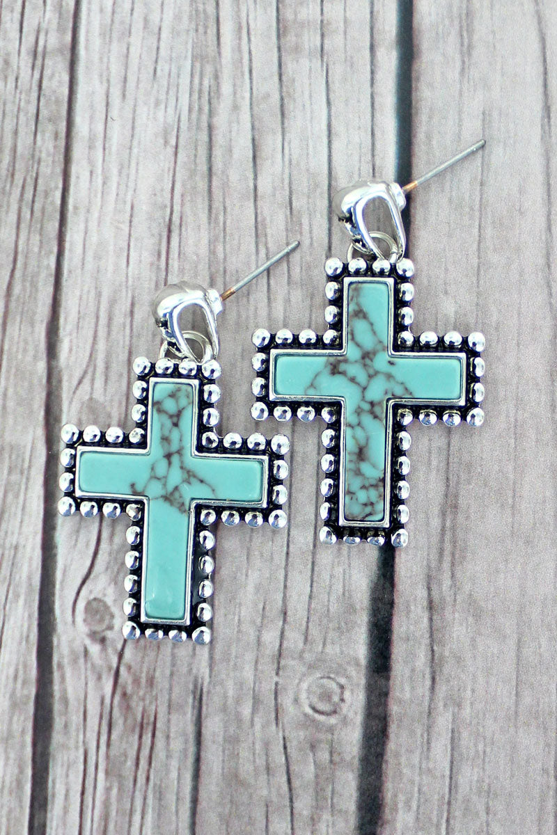 Silvertone Dot Framed Turquoise Cross Earrings