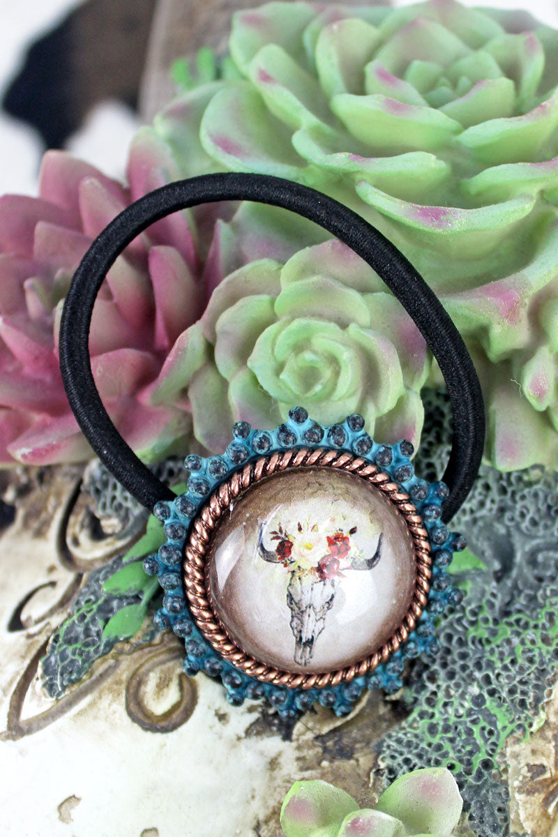 Patina & Coppertone Framed Steer Skull Bubble Hair Tie