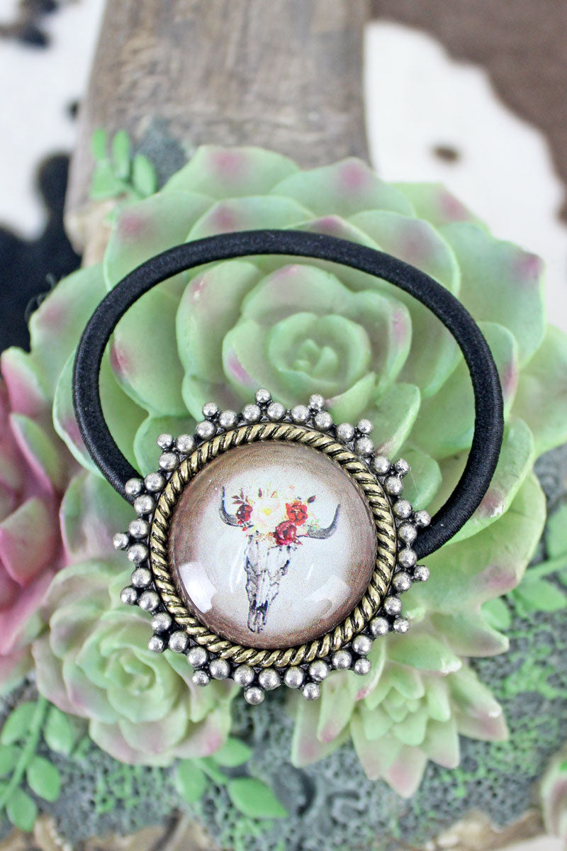 Silvertone & Goldtone Framed Steer Skull Bubble Hair Tie