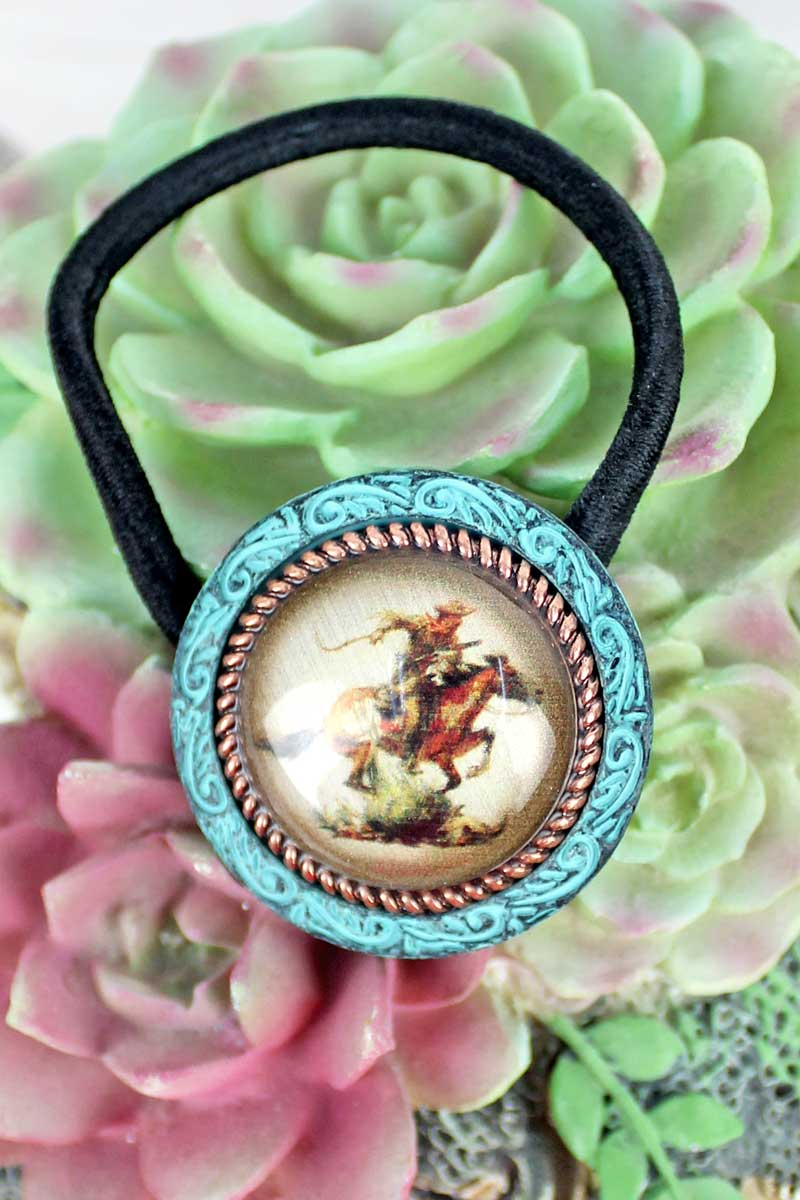Patina & Coppertone Framed Galloping Cowboy Bubble Hair Tie