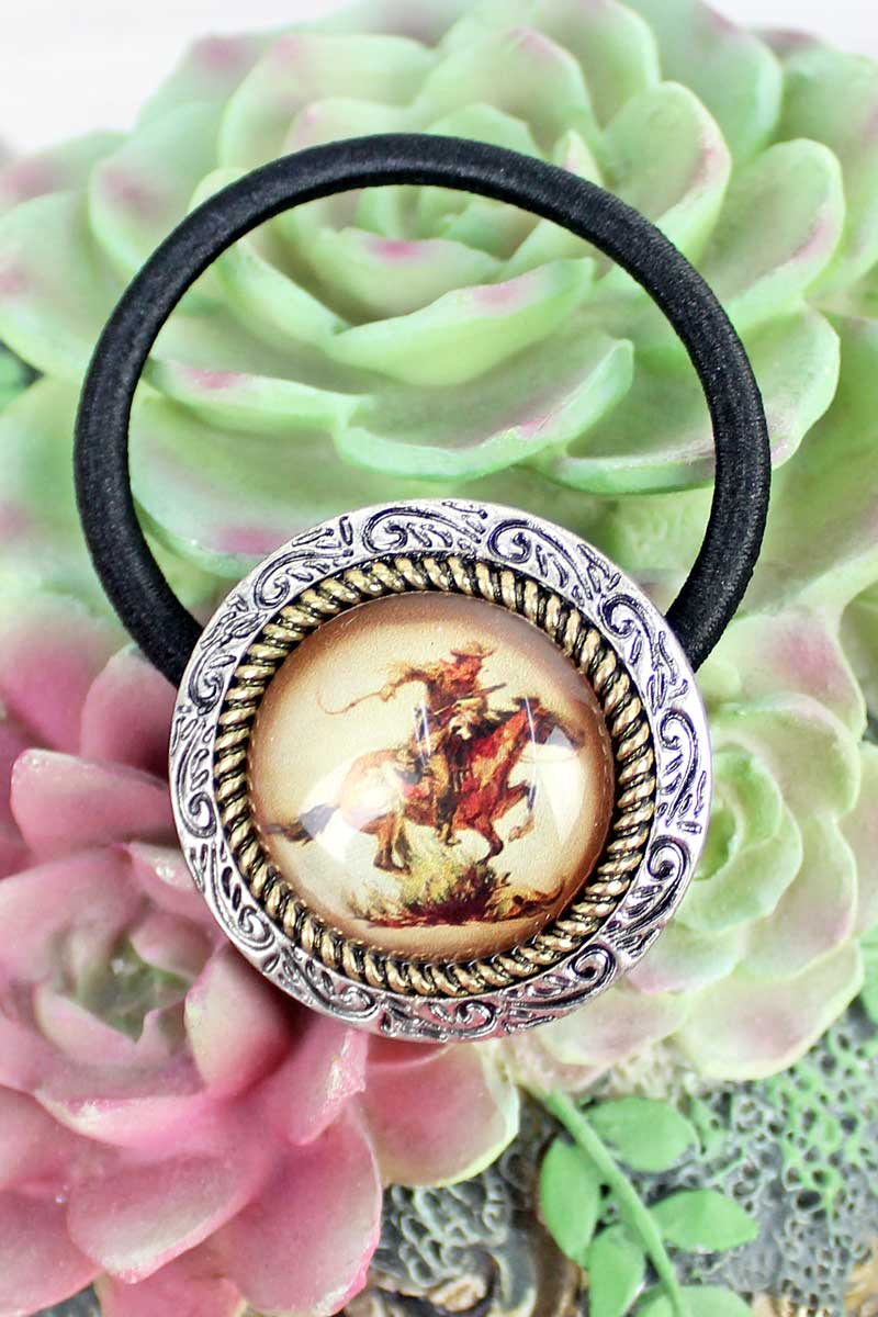 Silvertone & Goldtone Framed Galloping Cowboy Bubble Hair Tie