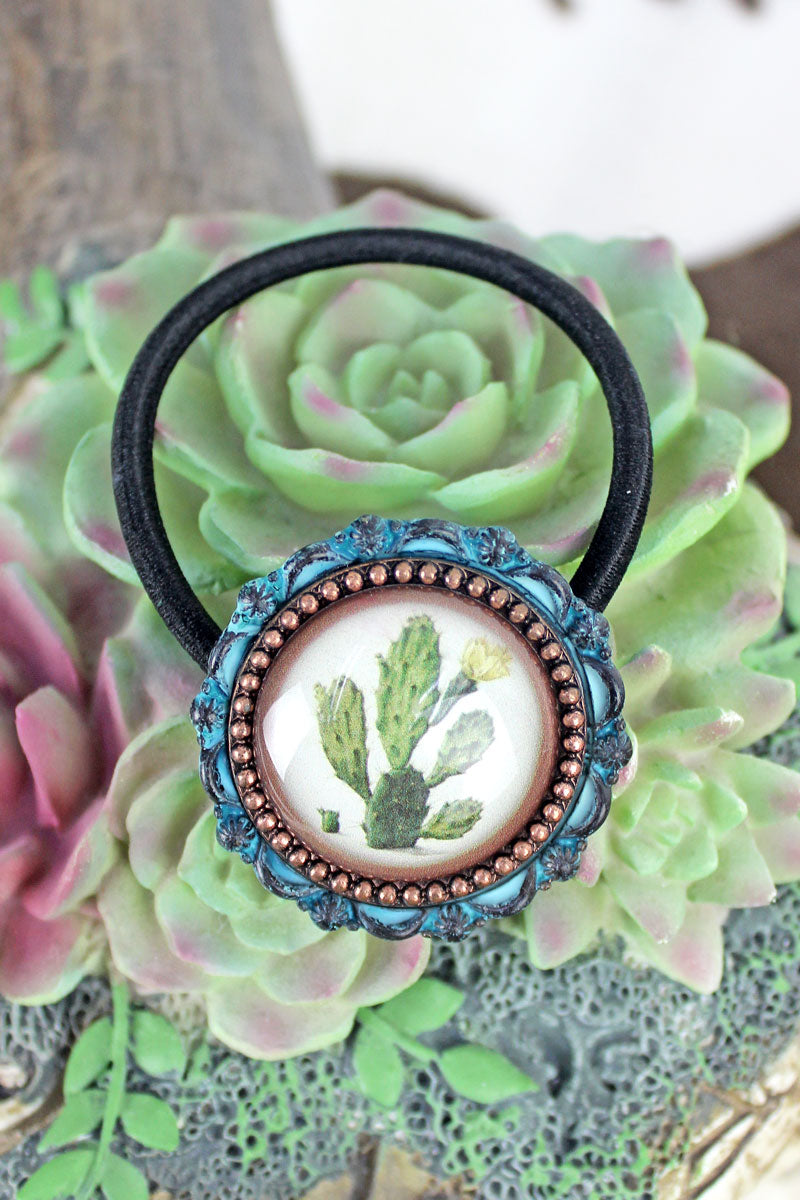 Patina & Coppertone Framed Cactus Bubble Hair Tie