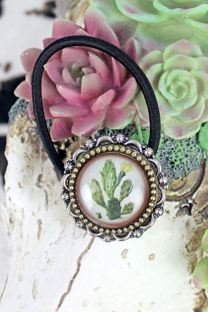 Silvertone & Goldtone Framed Cactus Bubble Hair TieSilvertone & Goldtone Framed Cactus Bubble Hair Tie