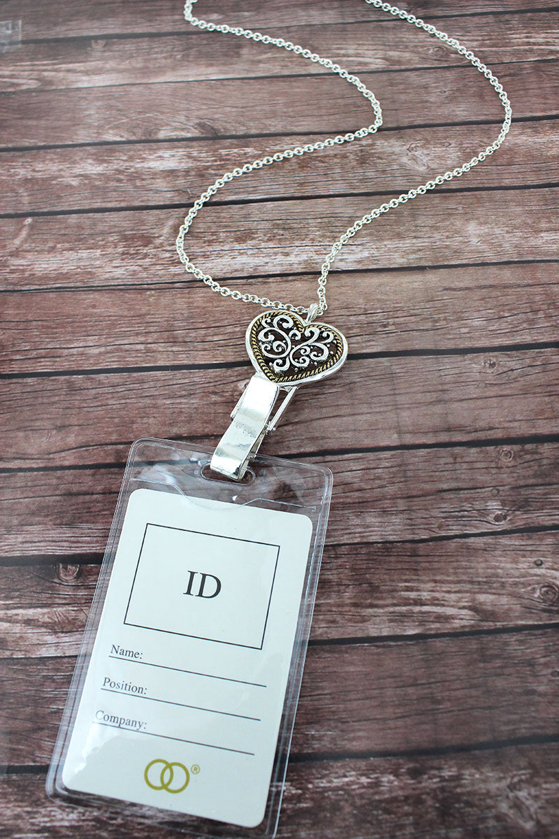 Two-Tone Scroll Heart Lanyard with ID Holder