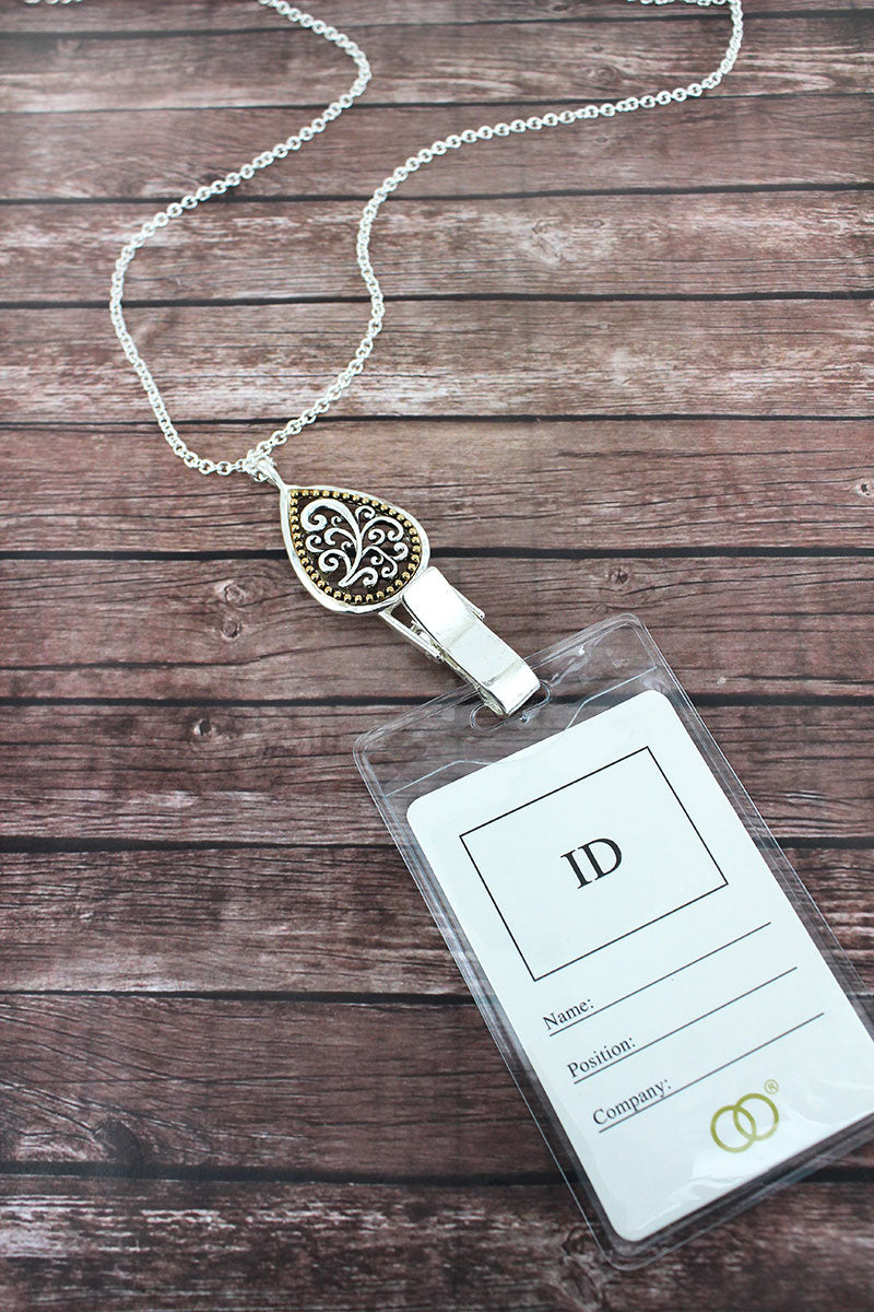 Two-Tone Scroll Teardrop Lanyard with ID Holder
