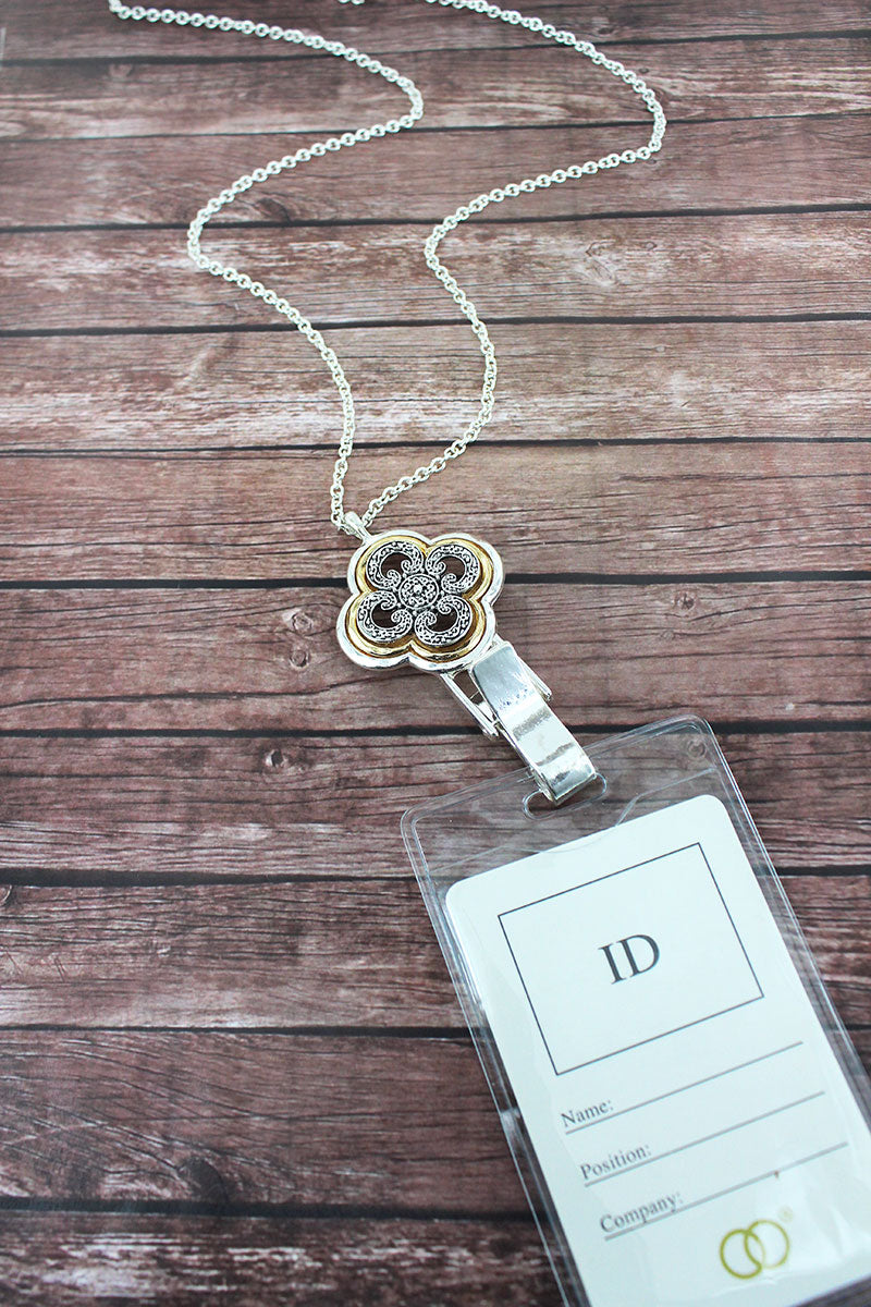 Two-Tone Scroll Quatrefoil Lanyard with ID Holder