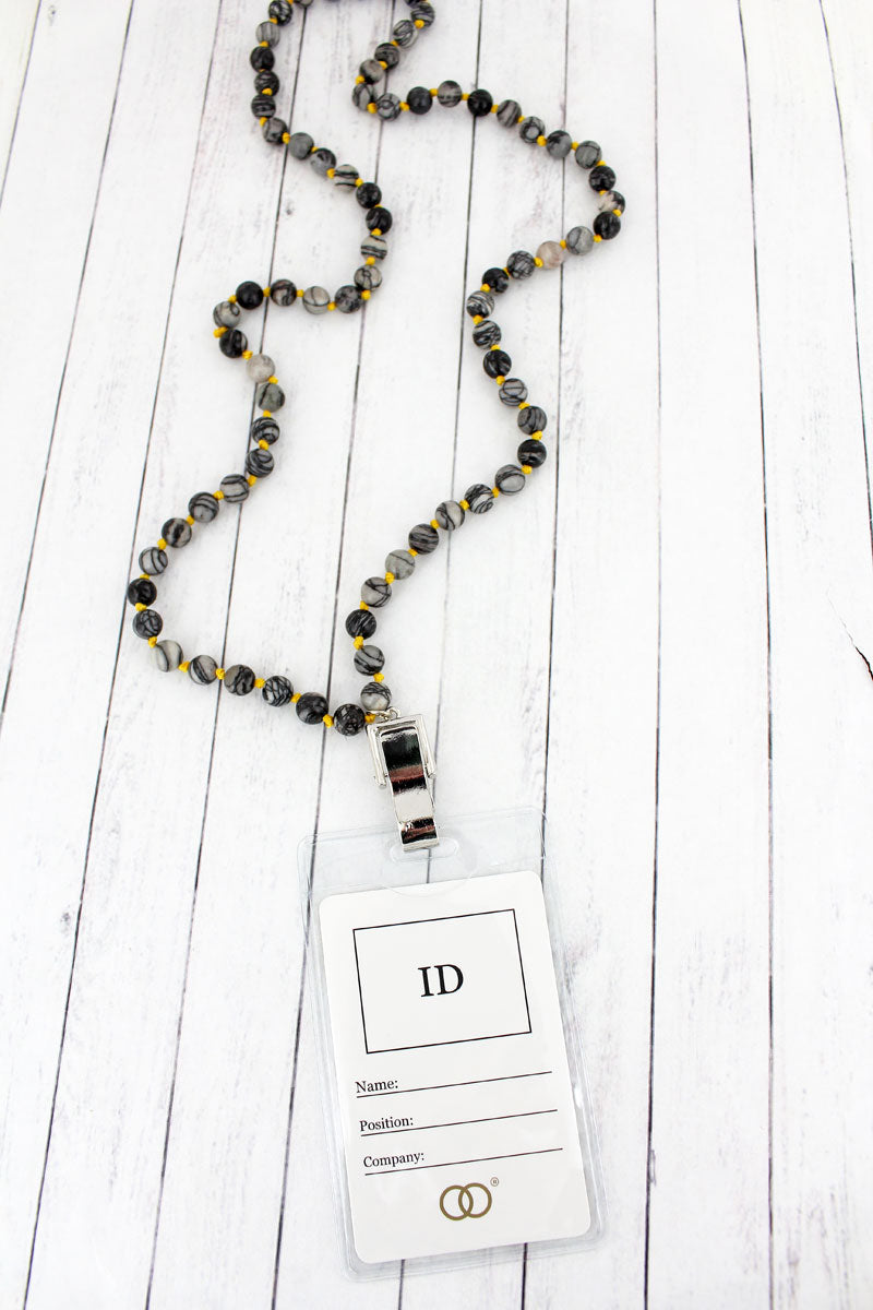 Black Bead Lanyard with ID Holder