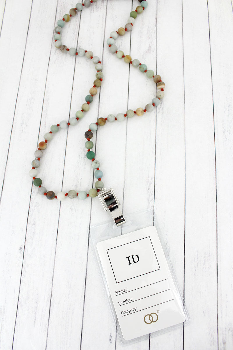 Green Bead Lanyard with ID Holder