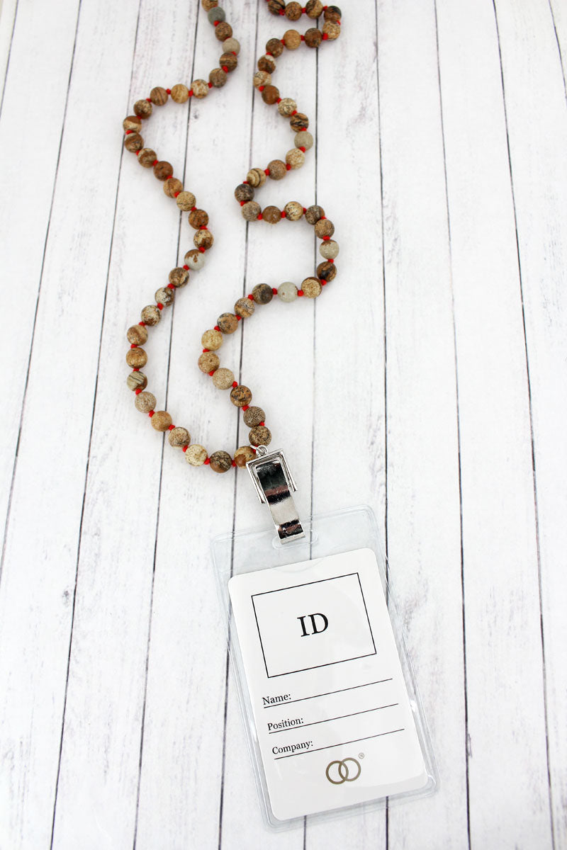 Natural Bead Lanyard with ID Holder