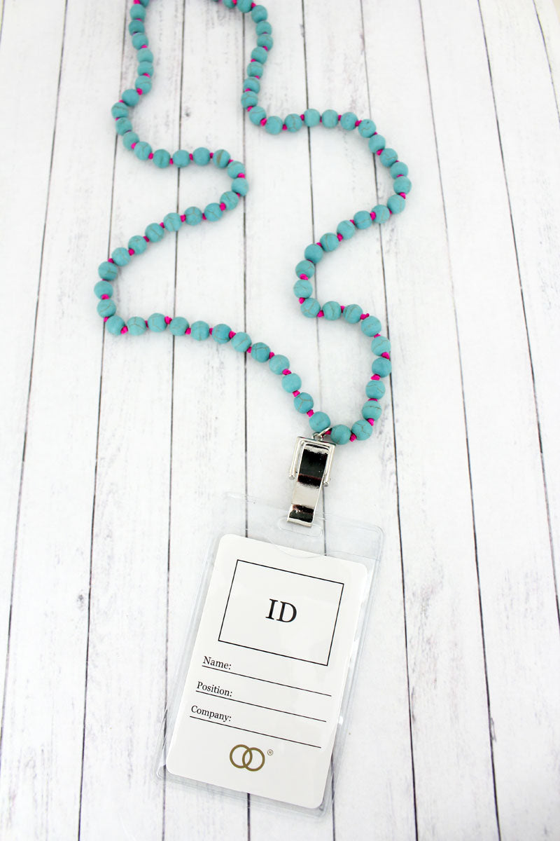 Turquoise Bead Lanyard with ID Holder
