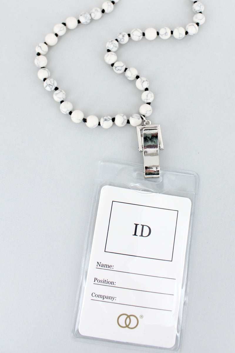 White Bead Lanyard with ID Holder