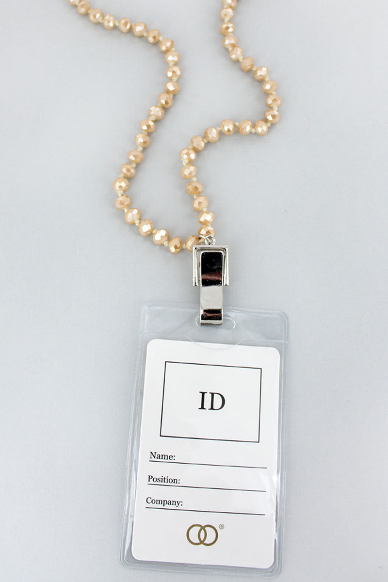 Light Brown Faceted Bead Lanyard with ID Holder