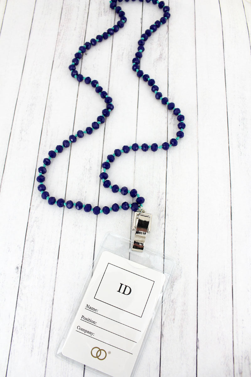 Navy Faceted Bead Lanyard with ID Holder