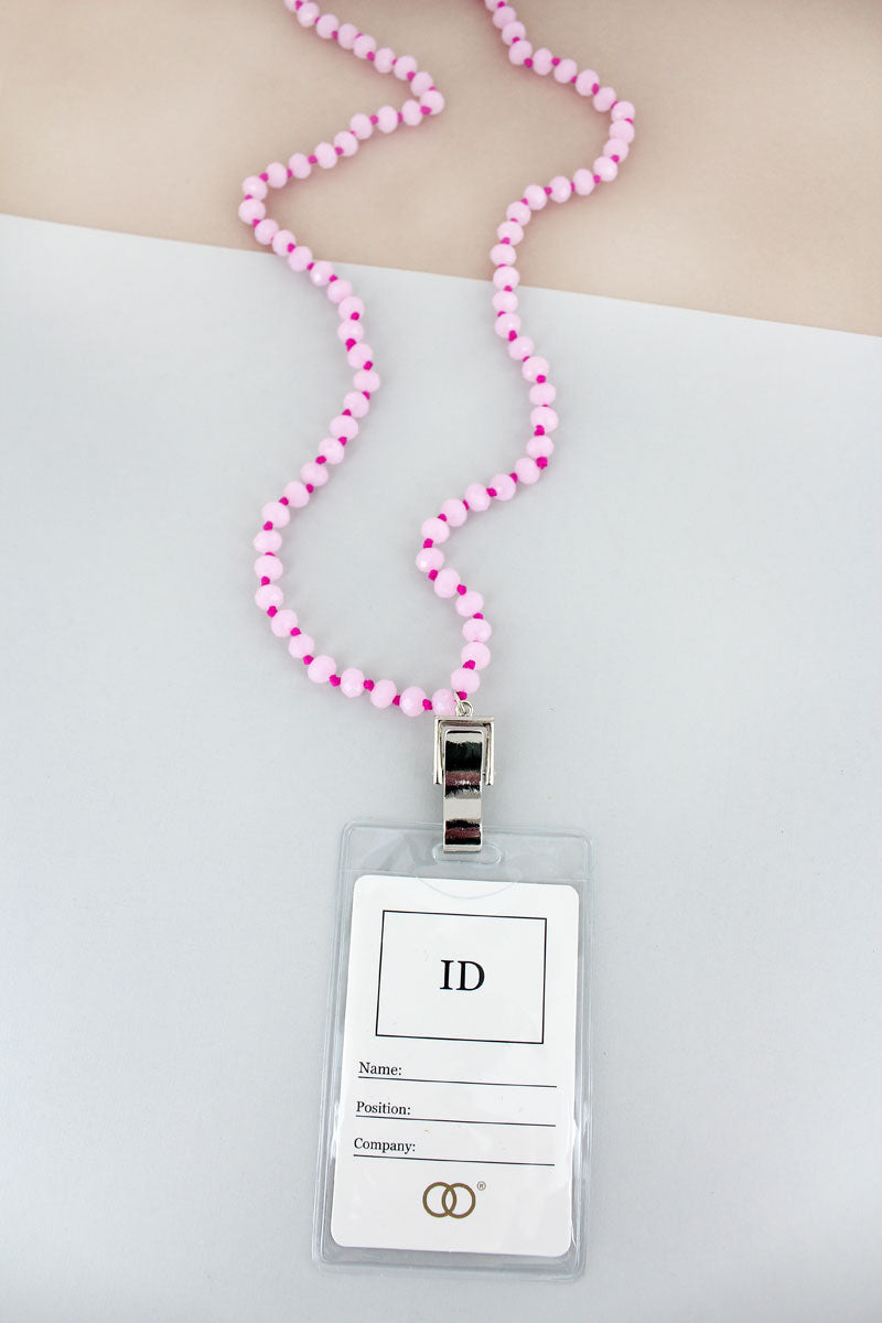 Pink Faceted Bead Lanyard with ID Holder