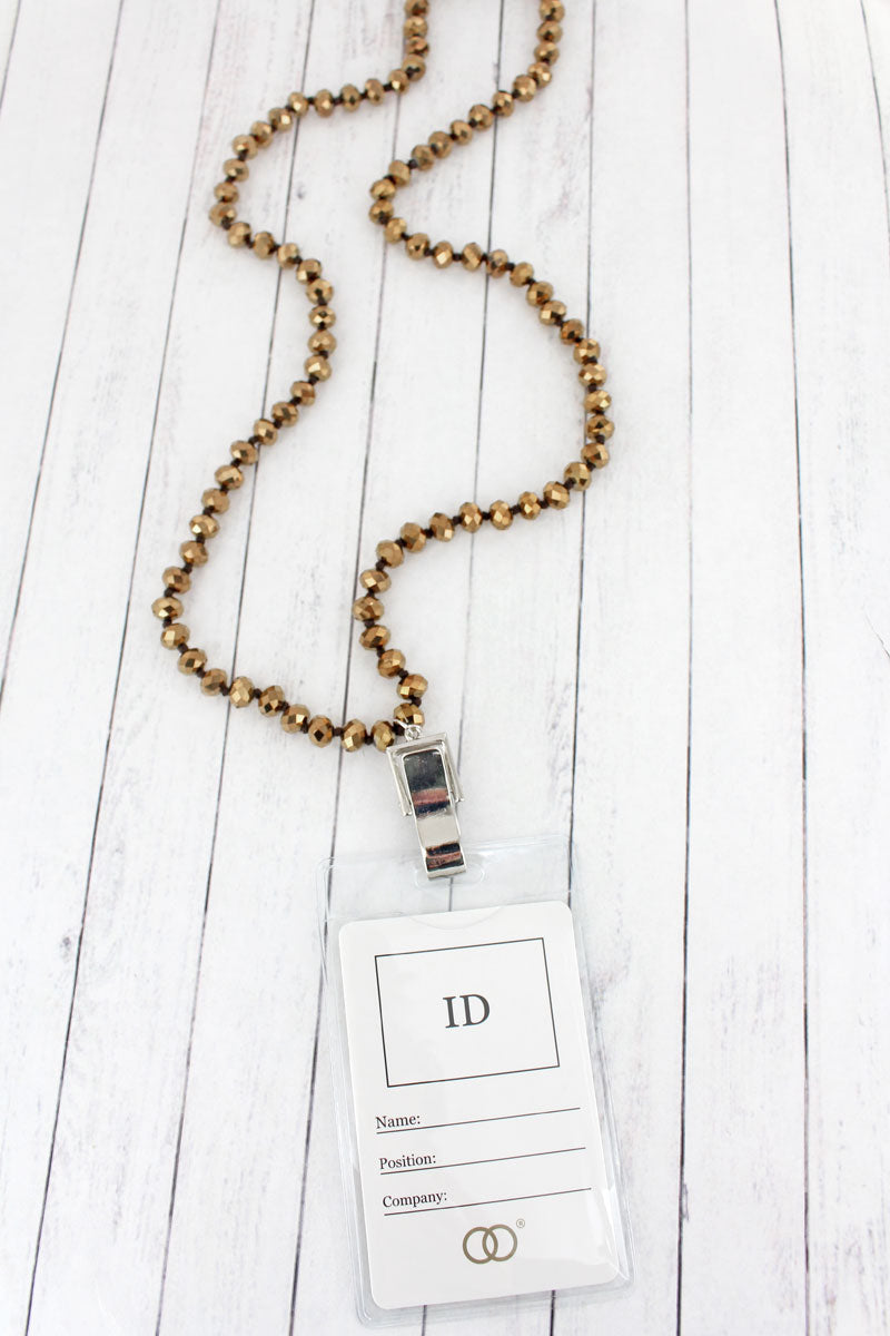 Chocolate Faceted Bead Lanyard with ID Holder