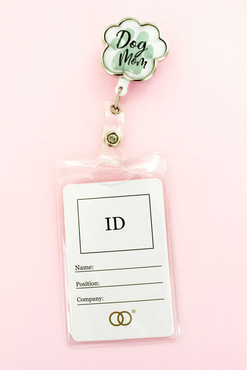 Dog Mom Bubble Paw Print Charm Retractable ID Holder