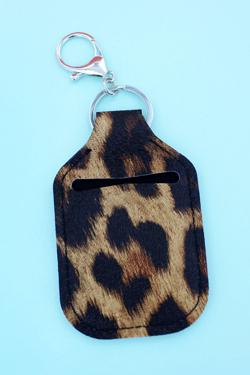 Leopard Hand Sanitizer Holder Keychain