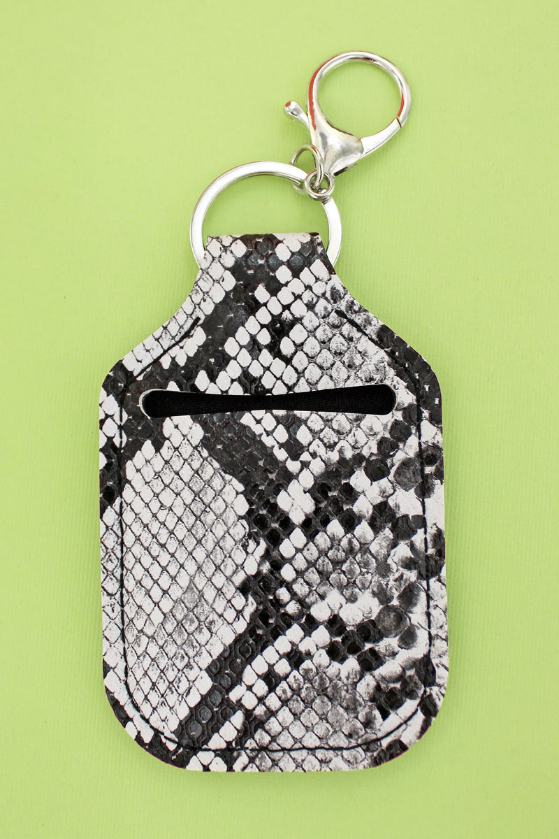 White Snakeskin Sanitizer Holder Keychain