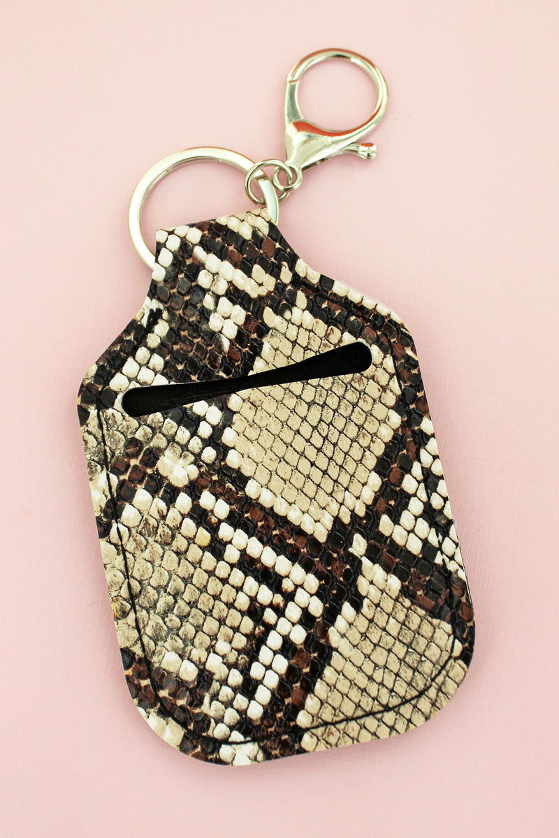 Brown Snakeskin Sanitizer Holder Keychain