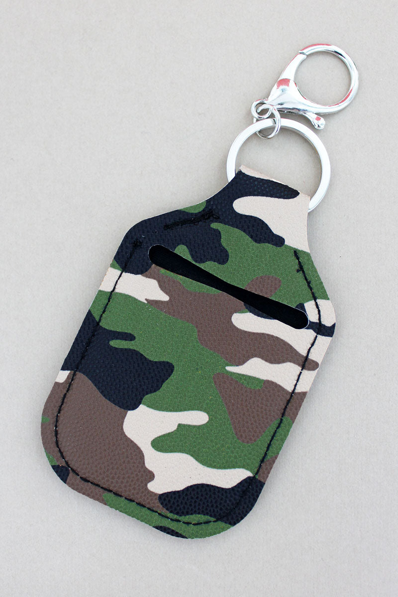 Camo Hand Sanitizer Holder Keychain