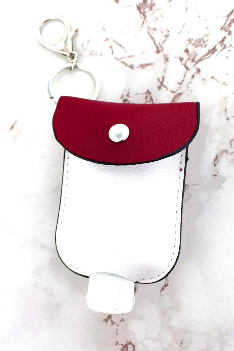 Crimson and White Hand Sanitizer Pouch Keychain