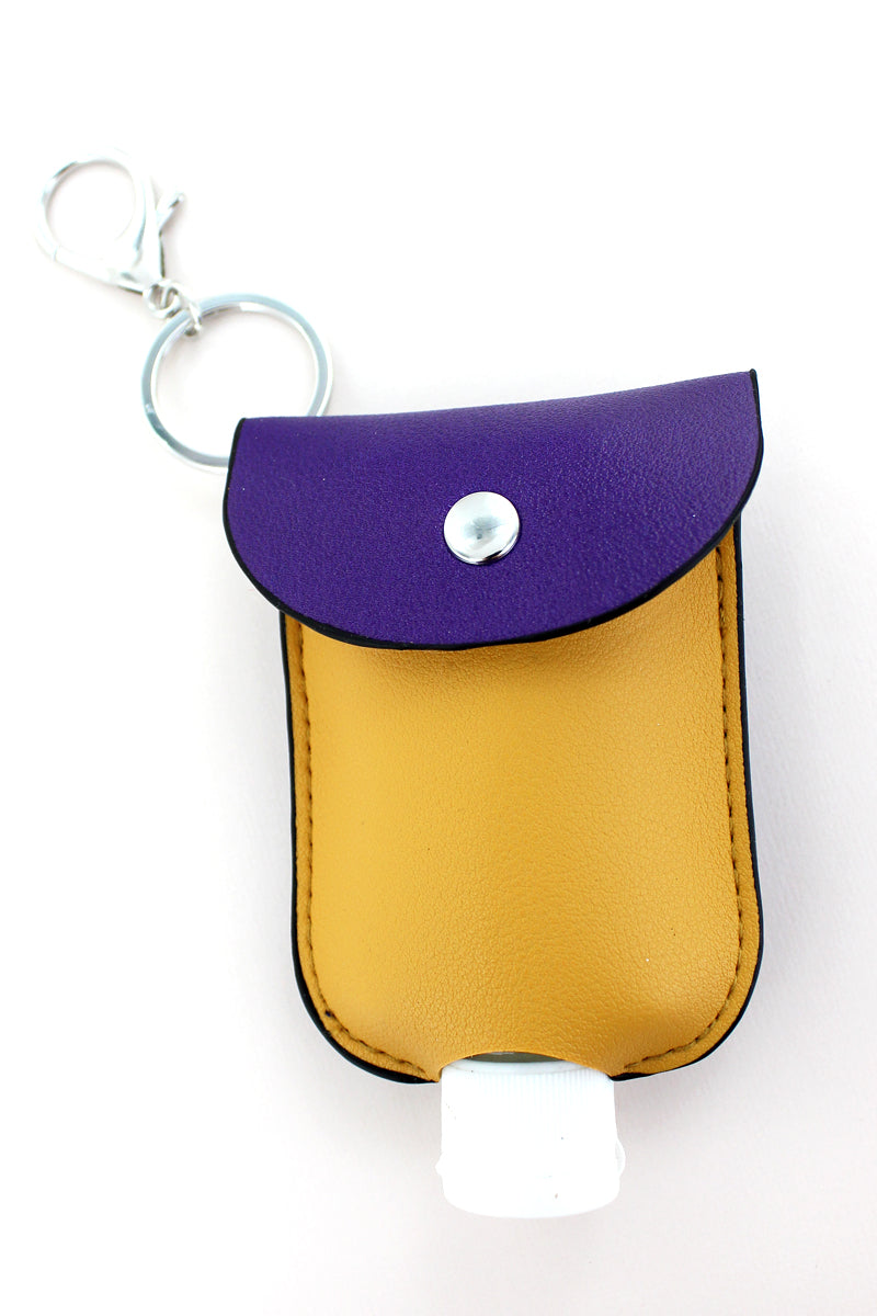 Purple and Gold Hand Sanitizer Pouch Keychain