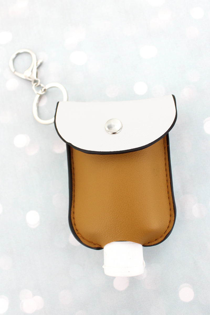 Orange Ochre and White Hand Sanitizer Pouch Keychain