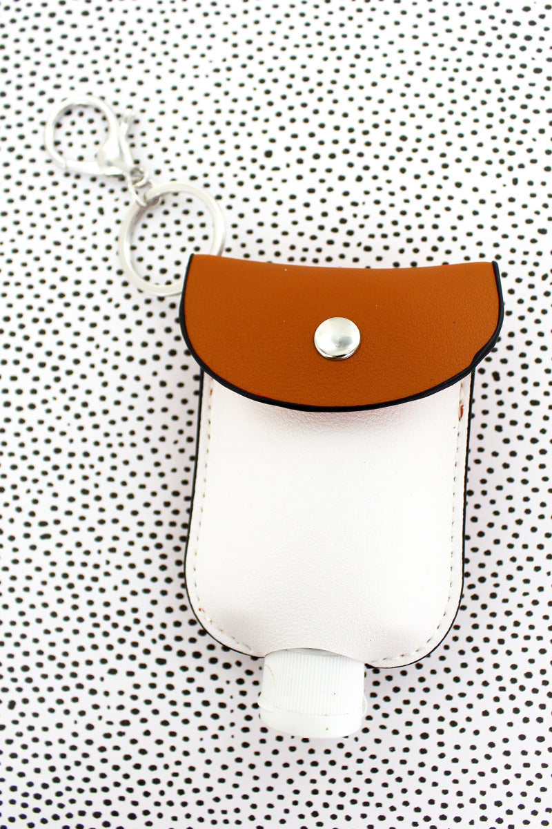 Burnt Orange and White Hand Sanitizer Pouch Keychain