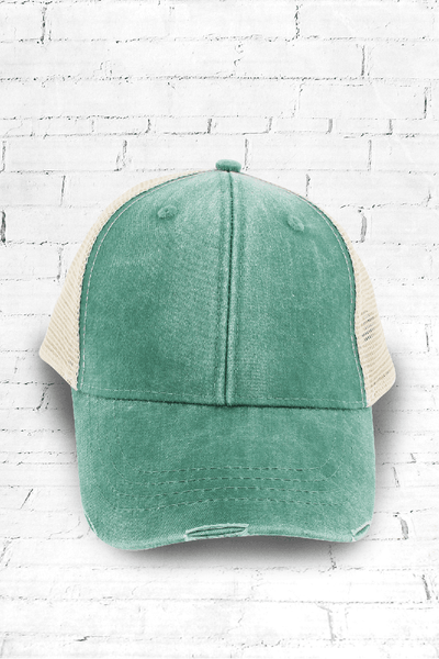 Distressed Ollie Trucker Cap, Forest and Tan #OL102 - Wholesale Accessory Market