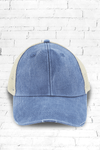 Distressed Ollie Trucker Cap, Royal and Tan #OL102 - Wholesale Accessory Market