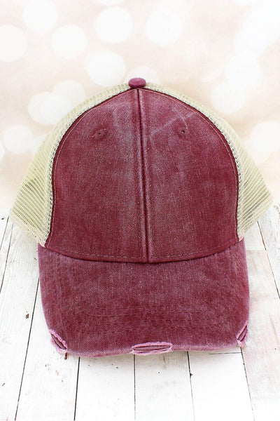 Distressed Ollie Trucker Cap, Burgundy and Tan