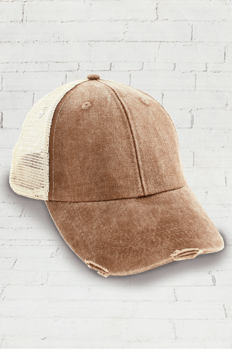 a7cce40db Distressed Ollie Trucker Cap, Mississippi Mud and Tan