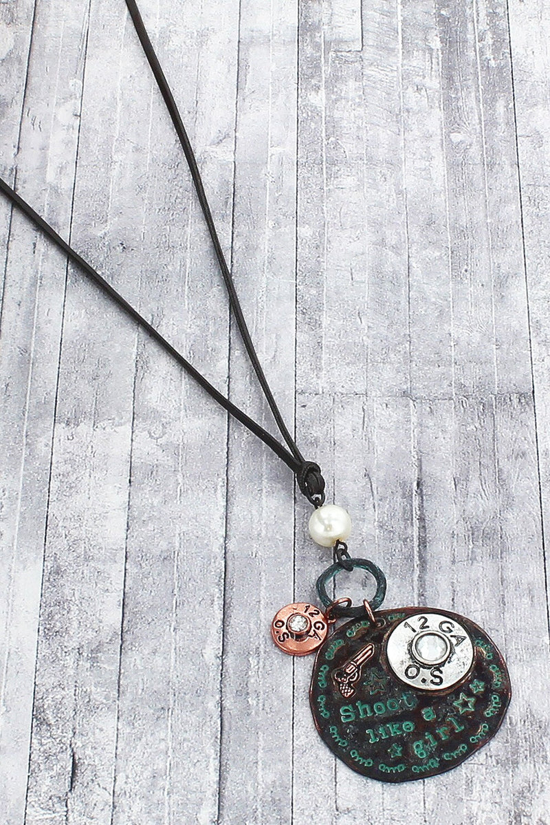 Tri-Tone and Patina 'Shoot Like A Girl' Pendant Cord Necklace