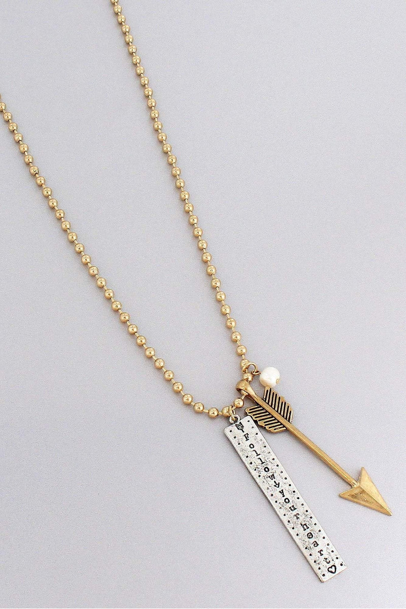 Two-Tone 'Follow Your Heart' Arrow Pendant Beaded Necklace #ON1275-GTTPR