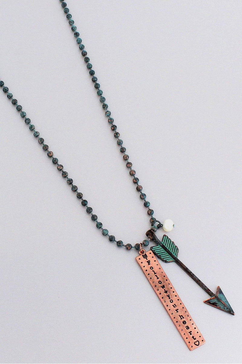 Patina and Coppertone 'Follow Your Heart' Arrow Pendant Beaded Necklace #ON1275-P2TPR