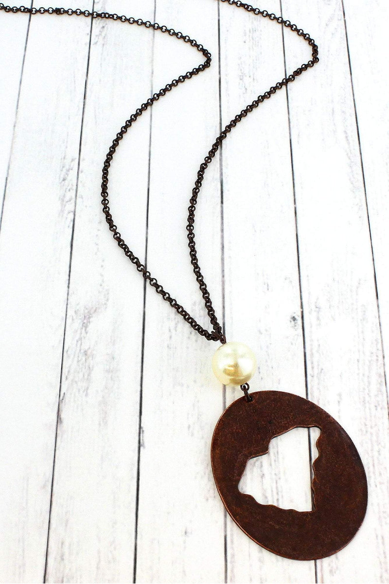 Worn Coppertone Cut-Out South Carolina and Pearl Pendant Necklace #ON1364-RTSOC