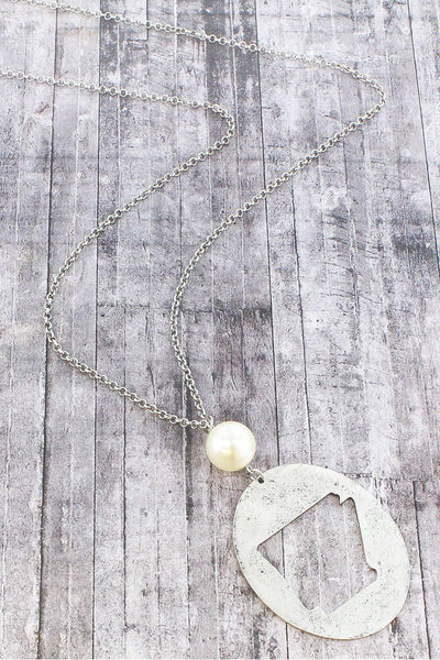 Burnished Silvertone Cut-Out Arkansas and Pearl Pendant Necklace
