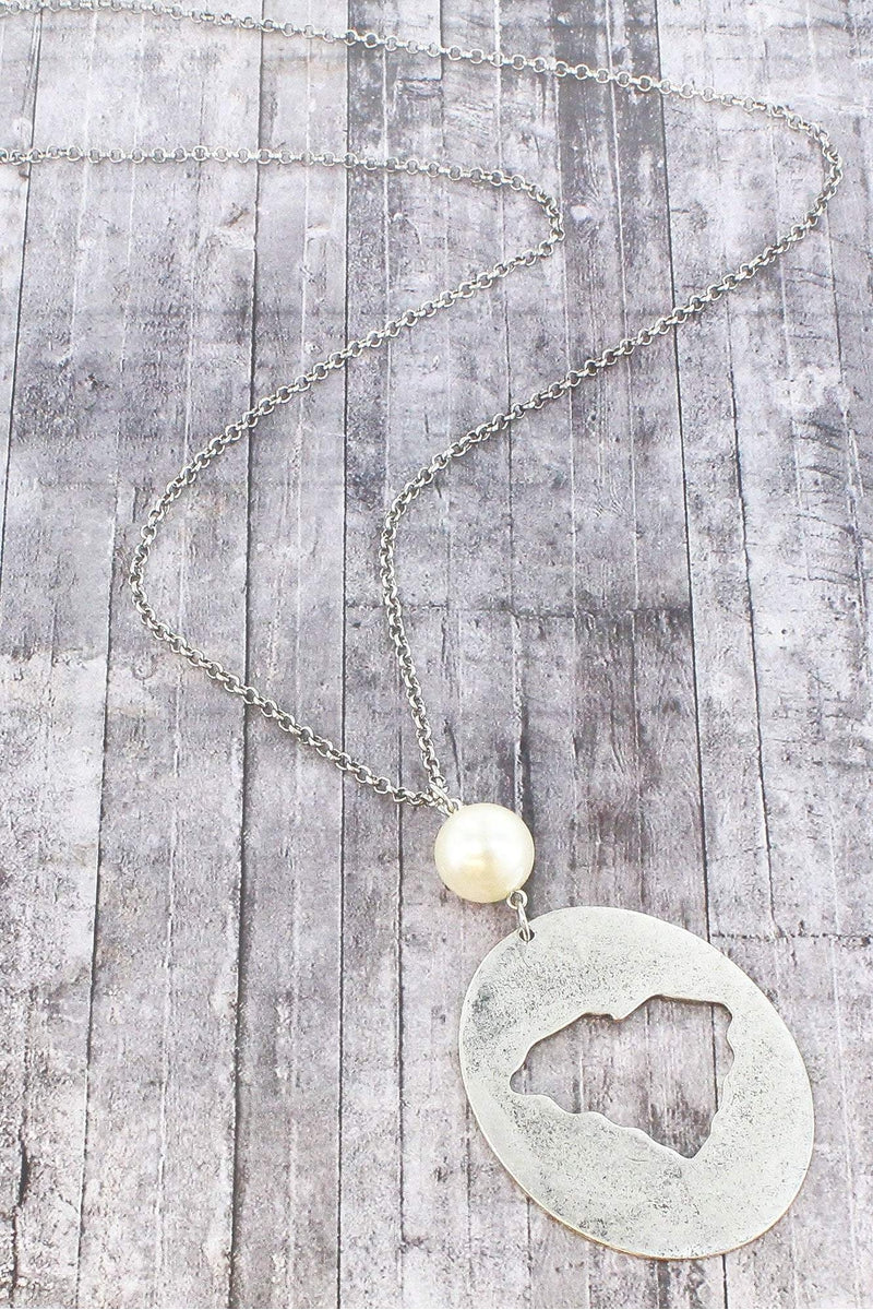 Burnished Silvertone Cut-Out South Carolina and Pearl Pendant Necklace