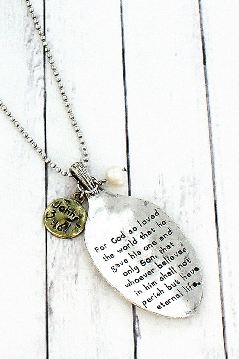 Worn Two-Tone John 3:16 Spoon Pendant Necklace