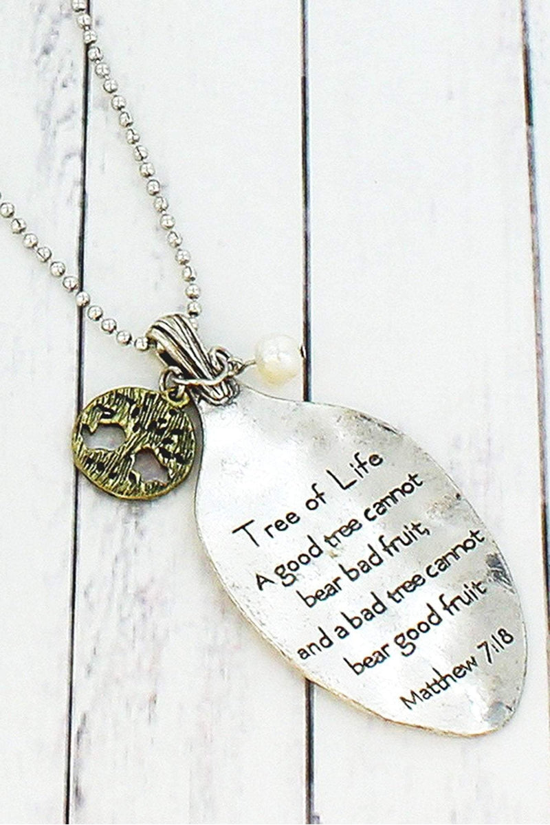 Worn Two-Tone Matthew 7:18 Spoon Pendant Necklace