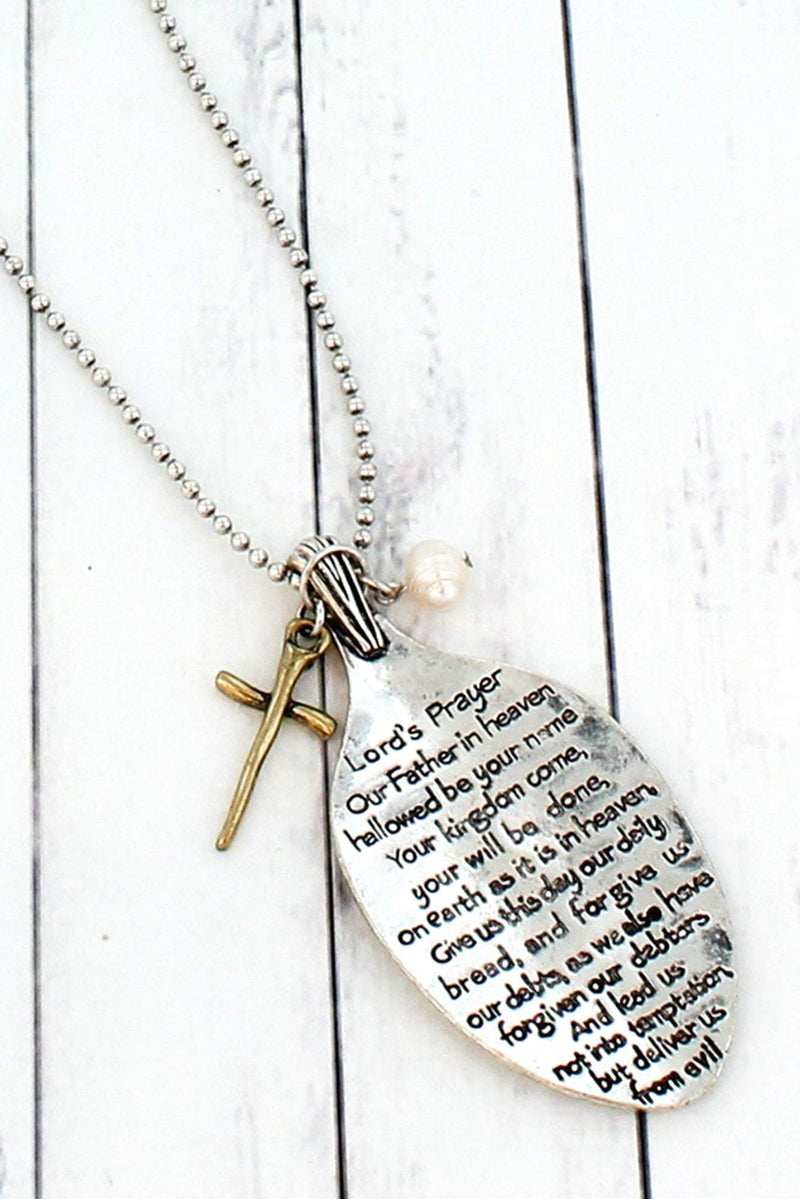 Worn Two-Tone Lord's Prayer Spoon Pendant Necklace