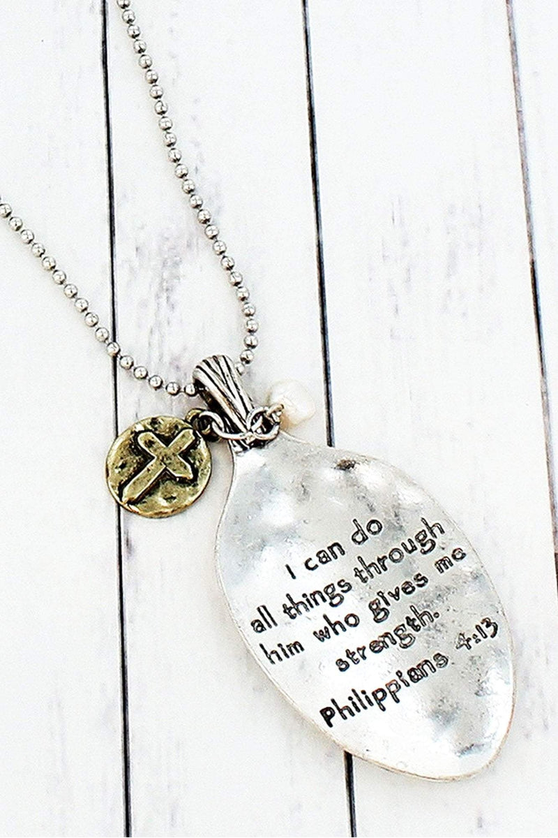 Worn Two-Tone Philippians 4:13 Spoon Pendant Necklace