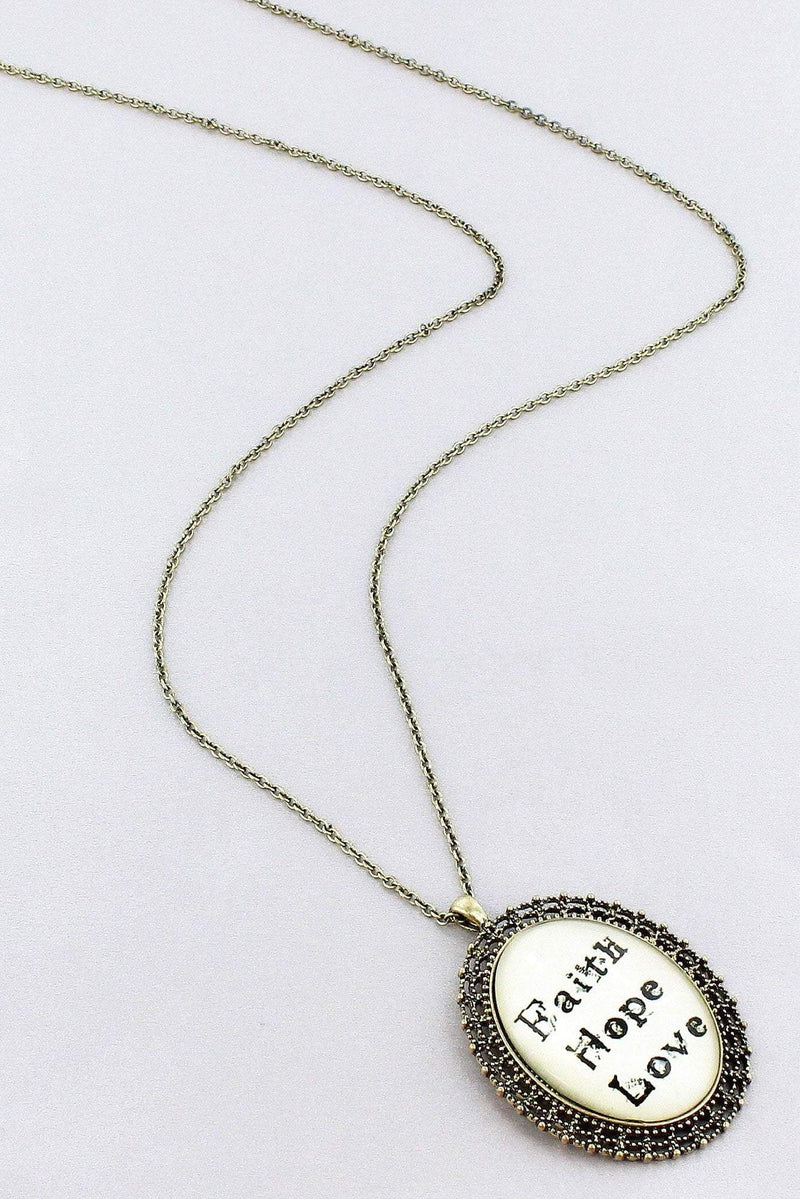 Burnished Brasstone 'Faith Hope Love' Bubble Pendant Necklace