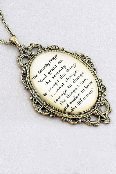Burnished Brasstone 'The Serenity Prayer' Bubble Pendant Necklace