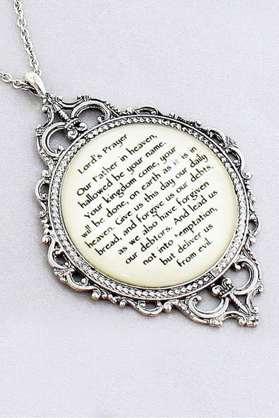 Burnished Silvertone 'Lord's Prayer' Bubble Pendant Necklace