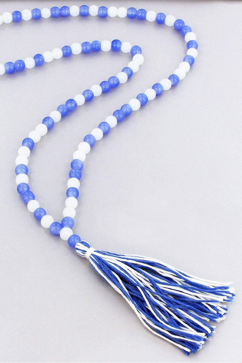 Blue and White Beaded Necklace with Tassel