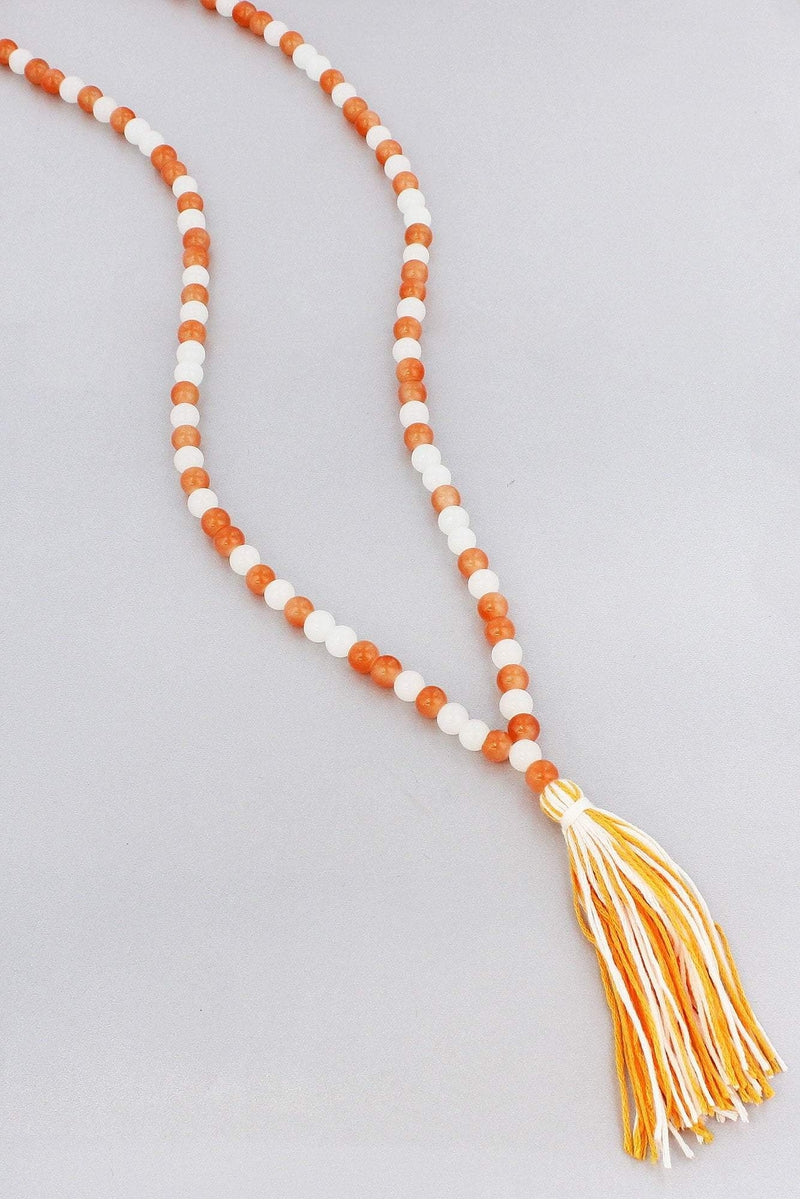 Tennessee Orange and White Beaded Gameday Necklace with Tassel